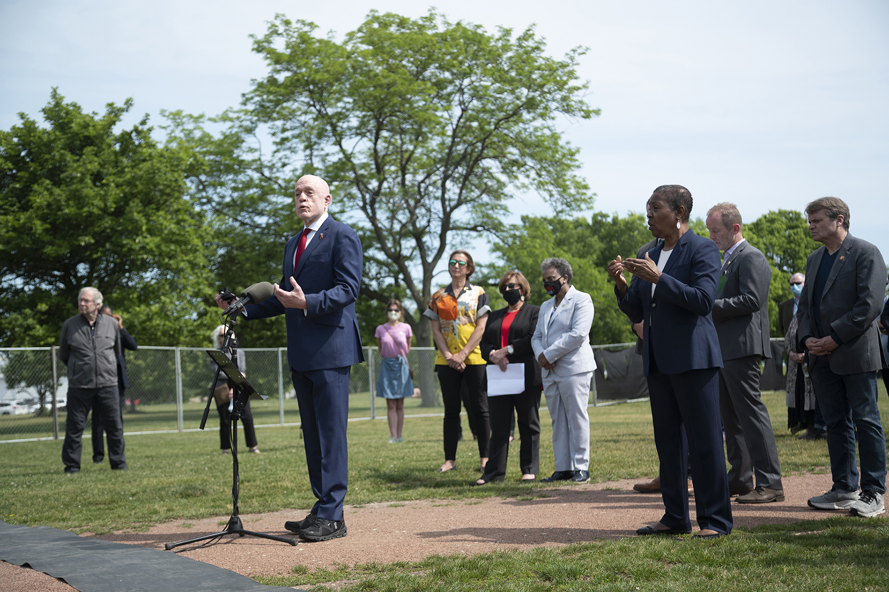 Illinois House Majority Leader Greg Harris, one of the few elected officials openly living with HIV, speaks at the groundbreaking of the AIDS Garden memorial