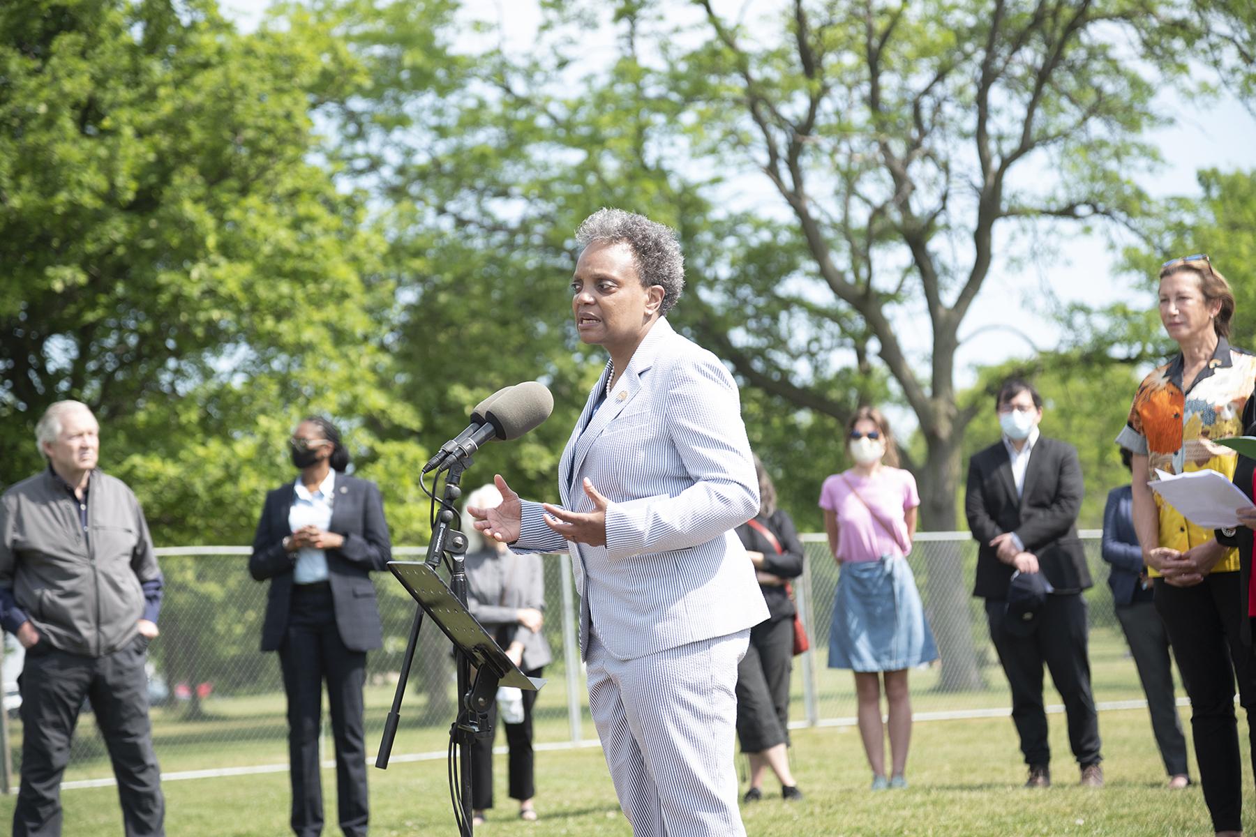 Chicago Mayor Lori Lightfoot speaks at the groundbreaking of the AIDS Garden
