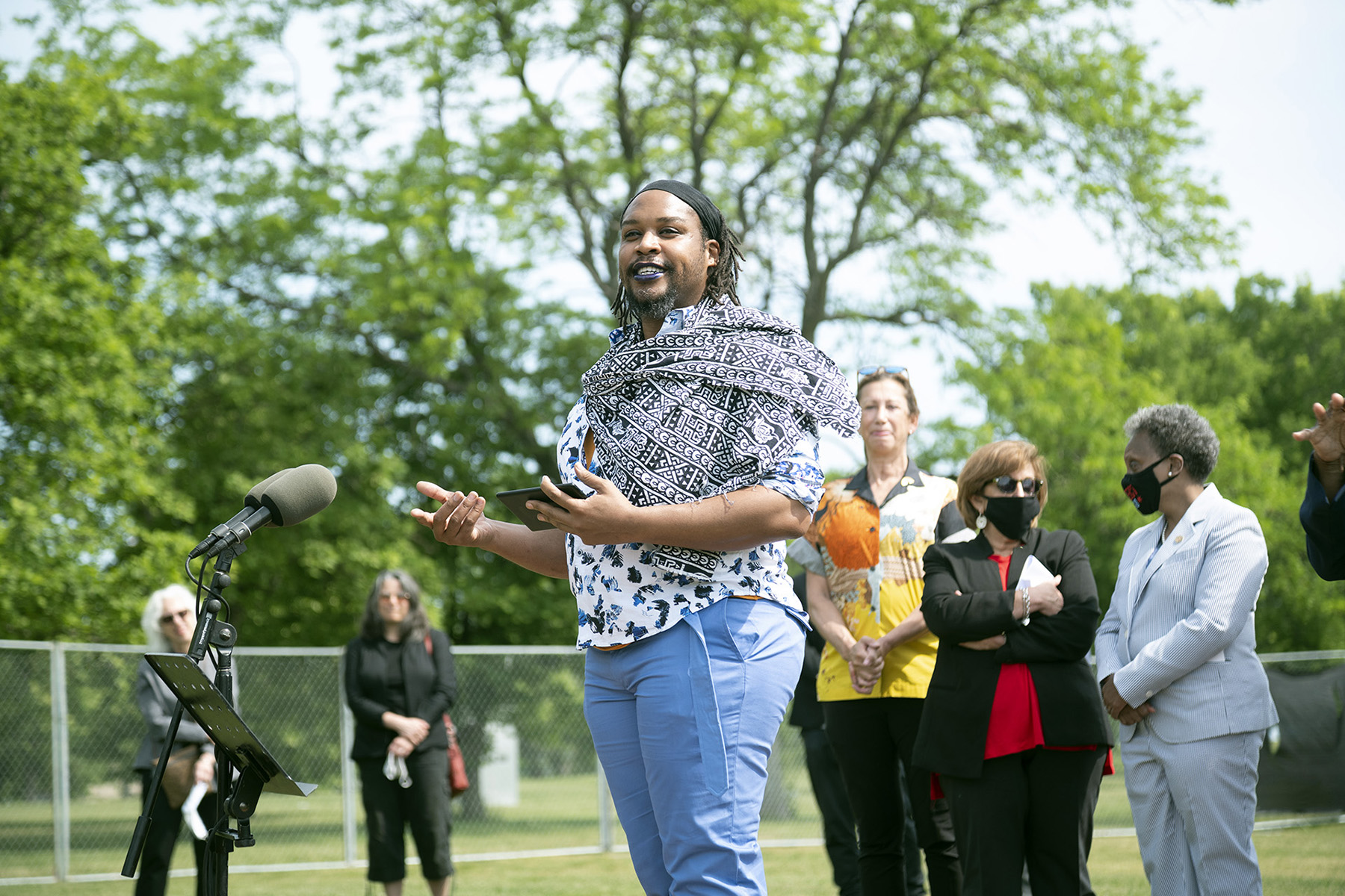 Poet Osiris Khepera dramatic reading at the groundbreaking of the AIDS Garden memorial along Chicago's lakefront