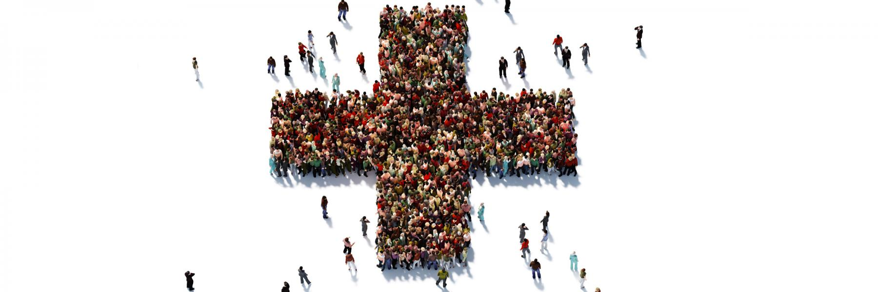 Crowd of people in the form of a medical cross symbol