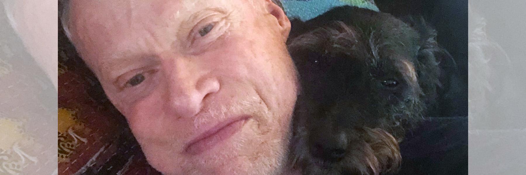 Activist Matt Sharp with his beloved rescue dog Betty.