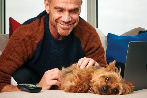 Dr. Rob Garofalo with his yorkie, Fred